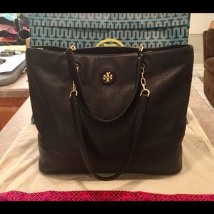 Tory Burch Black Leather Whipstitch Chain Tote Bag